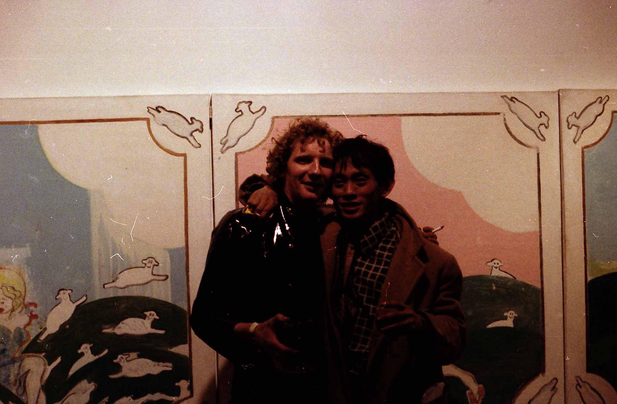 David Medalla and Jock McFadyen during the opening of Jock McFadyen's Paintings exhibition at The Acme Gallery 13 May – 2 June 1978. Courtesy of Jock McFadyen and Acme Archive.