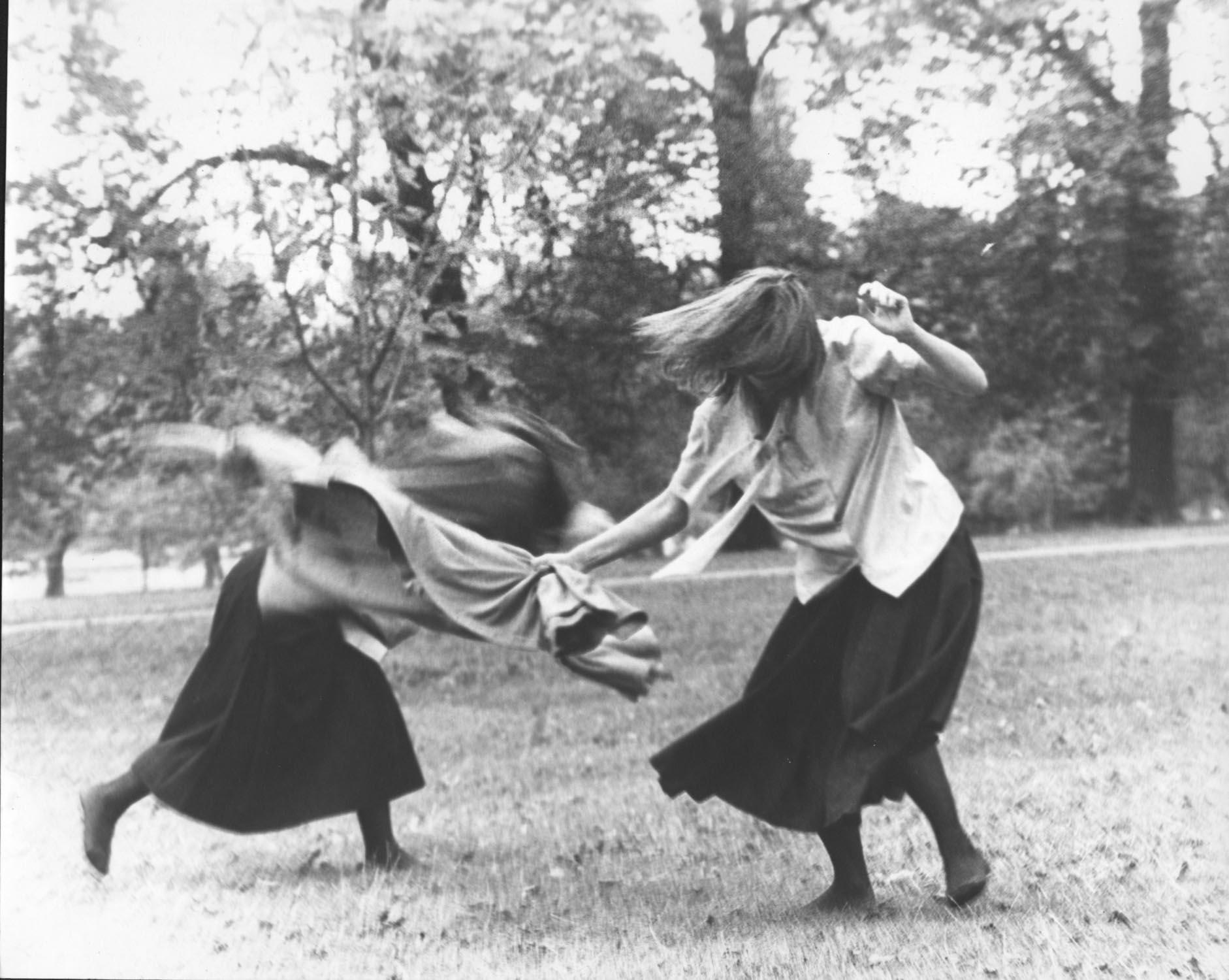 Rose English, Jacky Lansley, Lynn MacRitchie, Sally Potter, Judith Katz and Sylvia Stevens, Park Cafeteria, 1975. Serpentine Gallery, London. Photo - Geoff White