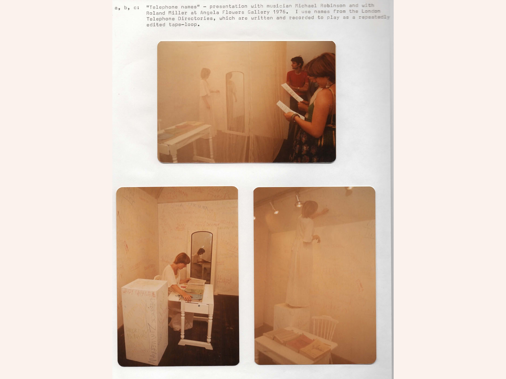 Shirley Cameron and Ronald Miller, Telephone Names, (1976). Angela Flowers Gallery, London.